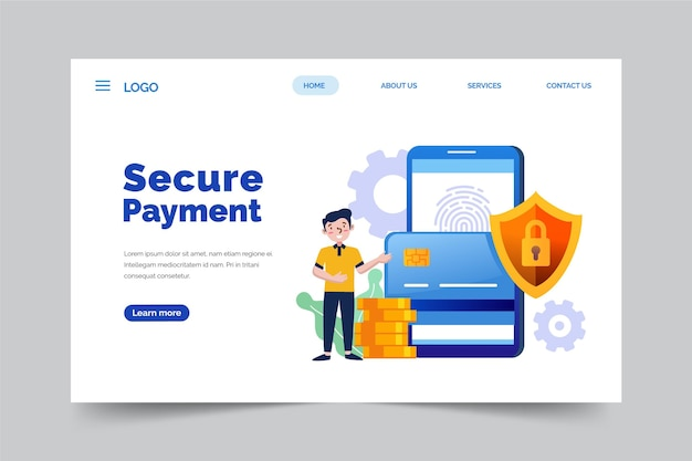 Secure payment landing page Free Vector