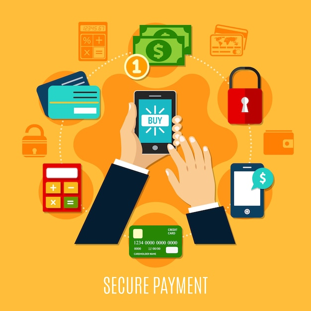 Secure payment round composition Free Vector