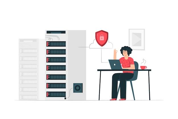 Secure server concept illustration Free Vector