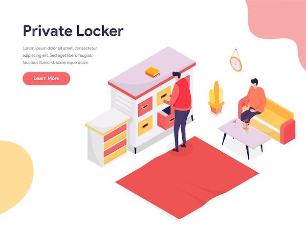 Secure space and private locker illustration Premium Vector