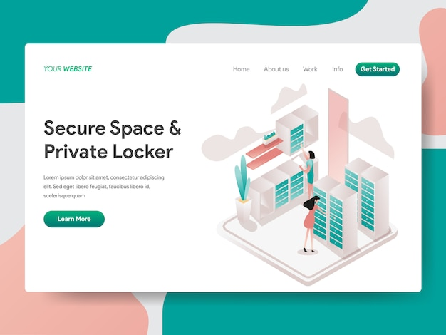 Secure space and private locker isometric for website page Premium Vector