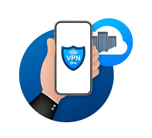 Иллюстрация концепции безопасного подключения vpn Premium векторы