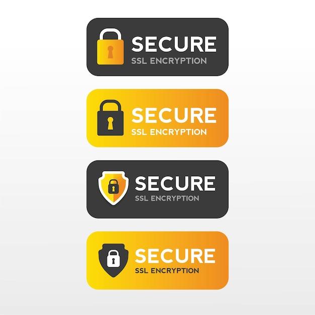 Безопасная веб-защита ssl баннер безопасность Premium векторы