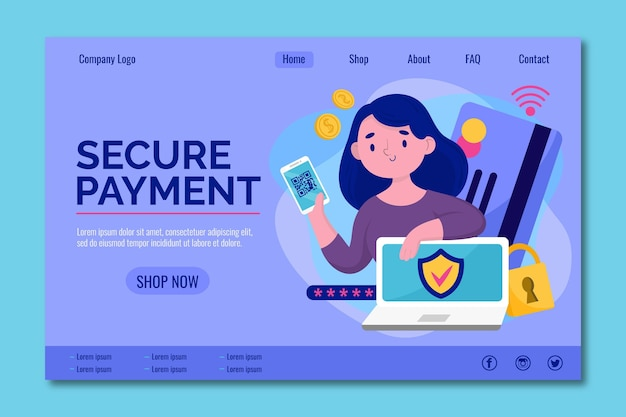 Secure your online payment landing page Free Vector