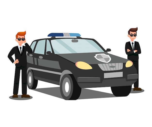Security agents and car flat vector illustration Premium Vector