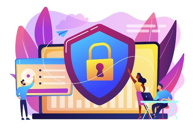 Gli analisti della sicurezza proteggono i sistemi connessi a internet con shield. cyber security, protezione dei dati, concetto di attacchi informatici su sfondo bianco. illustrazione isolata viola vibrante brillante Vettore gratuito