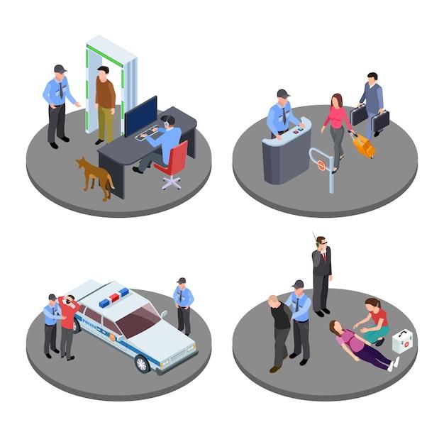 セキュリティと警察の作業等尺性ベクターの状況 Premiumベクター
