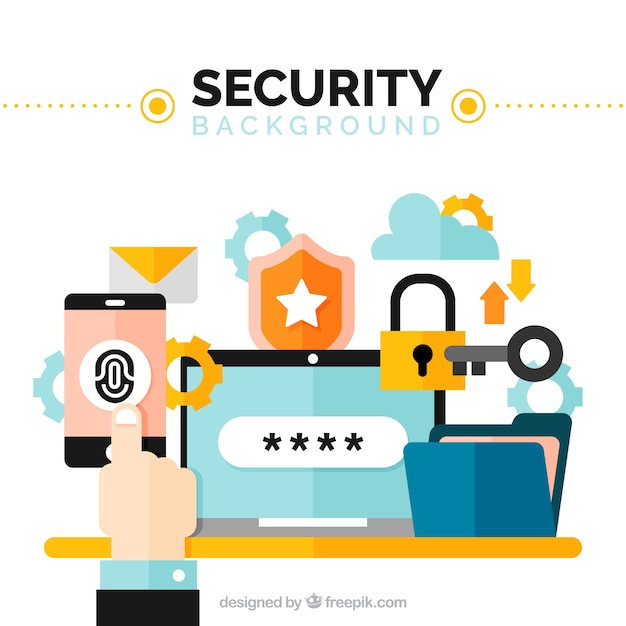 Security background with colored elements in flat design Free Vector