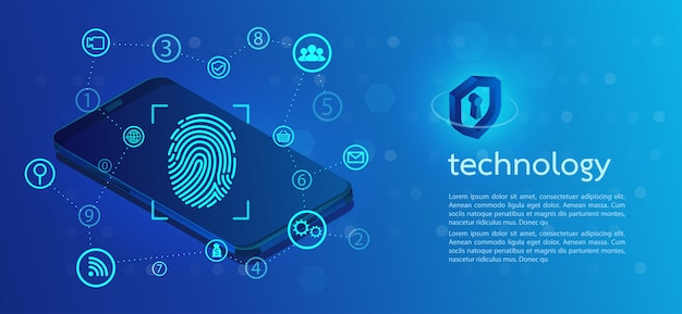 Security background with lock  finger-print scanning. Premium Vector