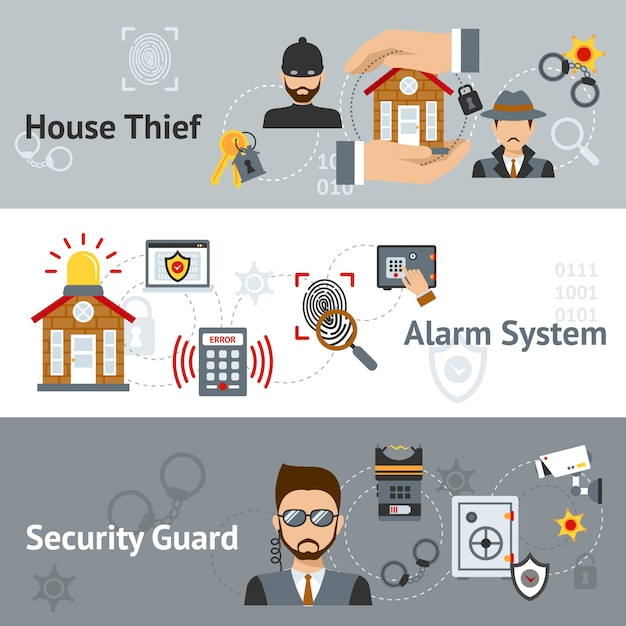 Security banner set Free Vector