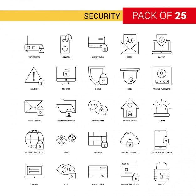 Security  black line icon - 25 business outline icon set Free Vector