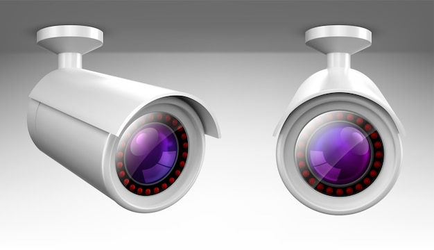 Security cam, cctv video camera, street observe surveillance equipment front and side angle view. Free Vector