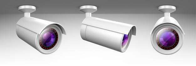 Videocamera di sicurezza, videocamera cctv, vista frontale e laterale dell'attrezzatura di sorveglianza stradale. Vettore gratuito