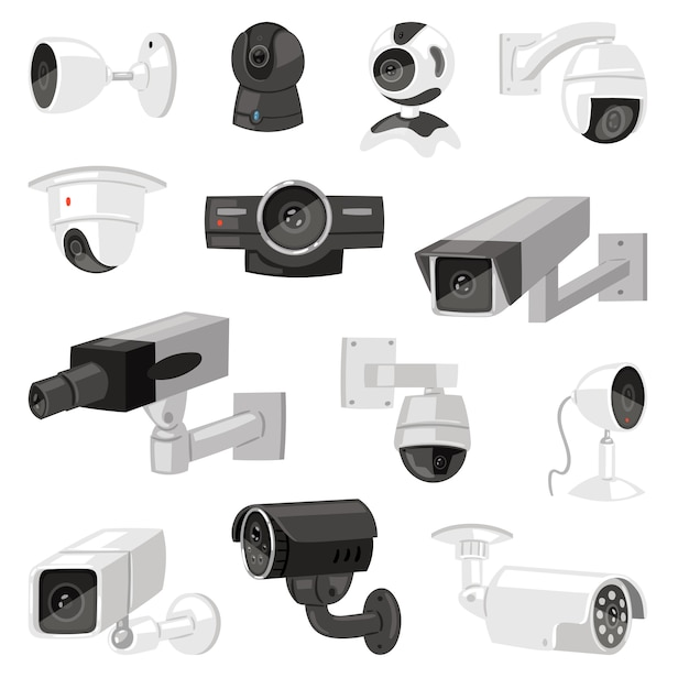 Security camera  cctv control safety video protection technology system illustration set of privacy secure guard equipment webcam device isolated on white background Premium Vector