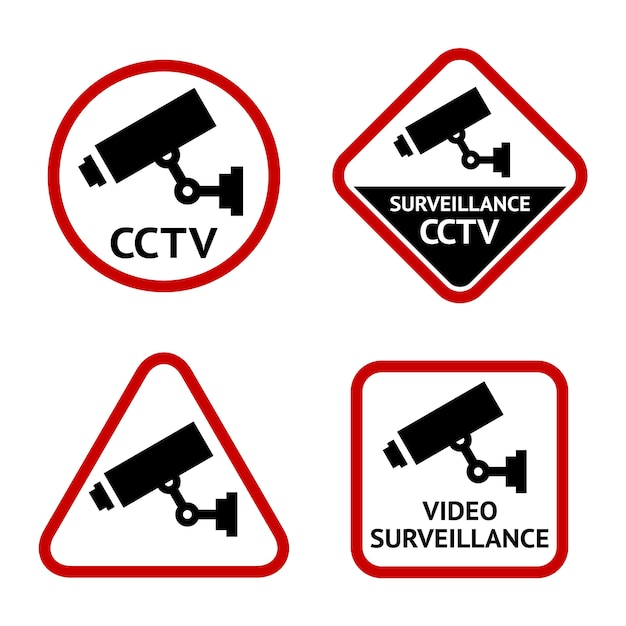 Security camera, set stickers Premium Vector