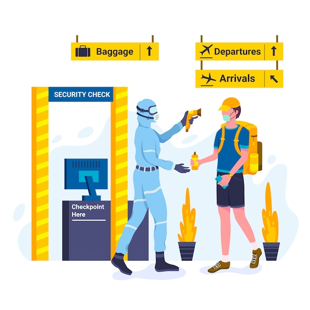 Security checking body temperature Free Vector