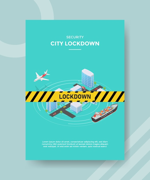 Security city lock down warning line on city building street transportation plane ship for template flyer Premium Vector