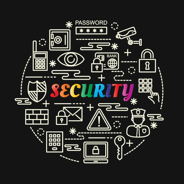 Security colorful gradient with line icons set Premium Vector