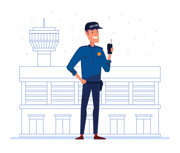 Security company employee with portable radio in front of airport building. Premium Vector