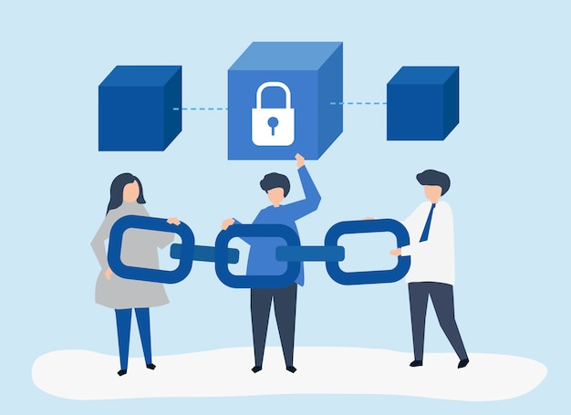 Security concept illustration of people holding a chain Free Vector