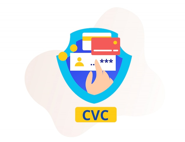 Security cvc or card verification code smartphone and shield Premium Vector