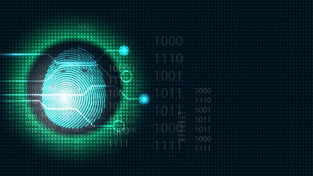 Security cyber digital concept fingerprint scan Premium Vector