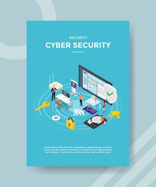 Modello di volantino di sicurezza informatica di sicurezza Vettore gratuito
