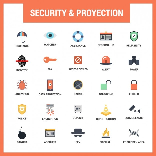 security flat icons set vector free download