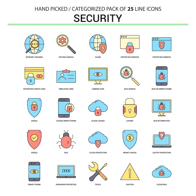 Security flat line icon set Free Vector