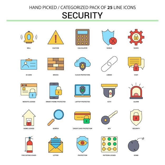 Security flat line icon set Premium Vector