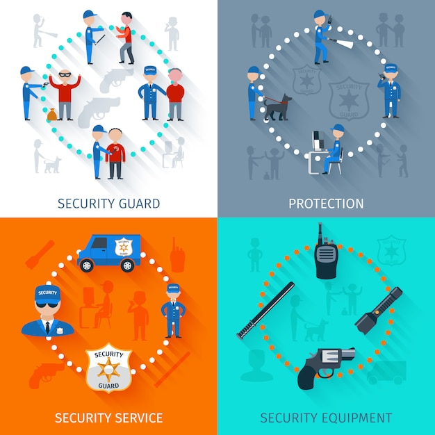 Security guard banner set Free Vector