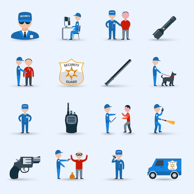 Security guard service icons set Free Vector