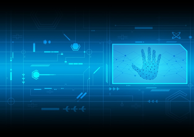 Security Handprint Background Vector Free Download