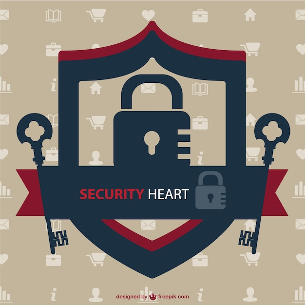 Security heart logo with keys and a lock Free Vector