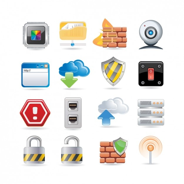 Security icon set Free Vector
