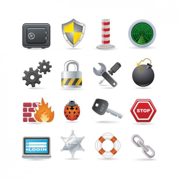Security icon set Free Vector