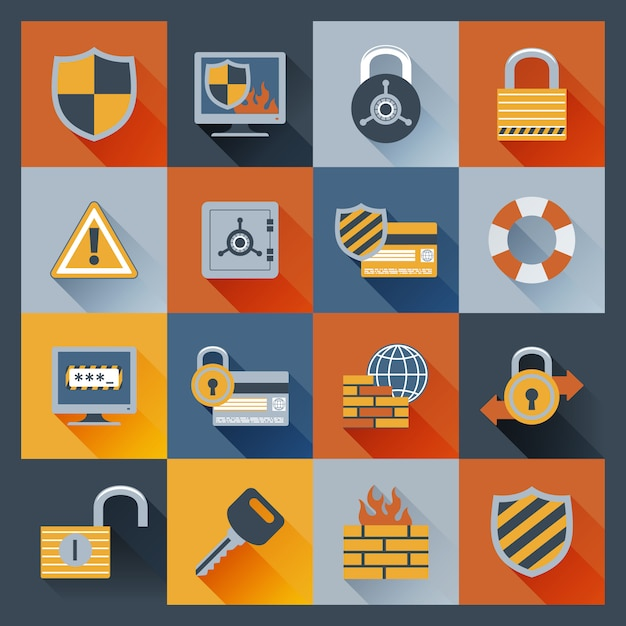 Security icons set flat Free Vector