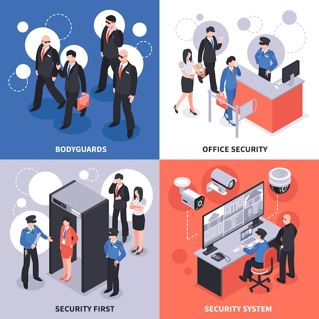 Security isometric  concept Free Vector