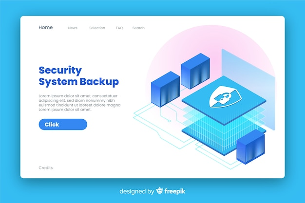 Security landing page isometric style Free Vector
