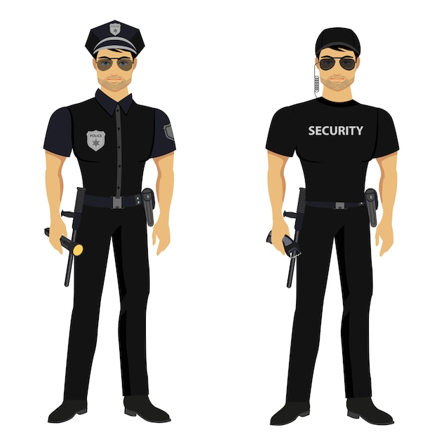Security and police guards isolated. Premium Vector