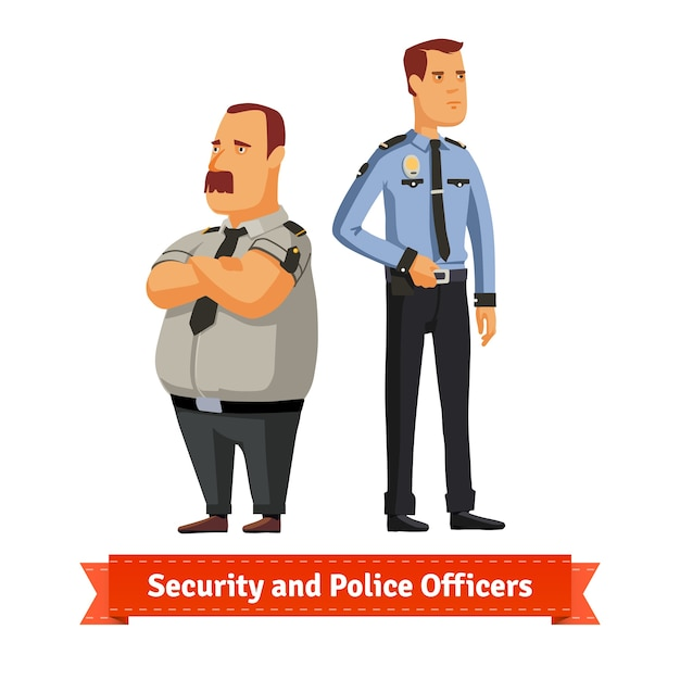 Security and police officers standing Free Vector