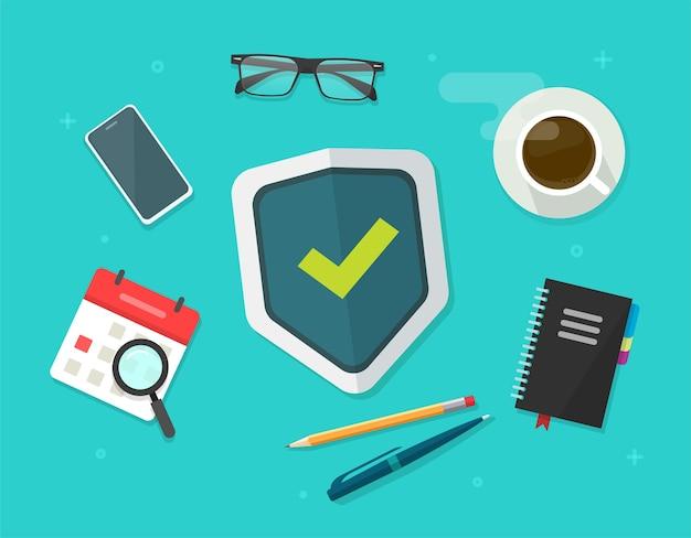 Концепция защиты безопасности щит на рабочем столе бизнес стол плоская планировка Premium векторы