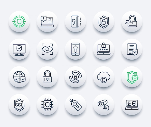 Security and protection icons set Premium Vector