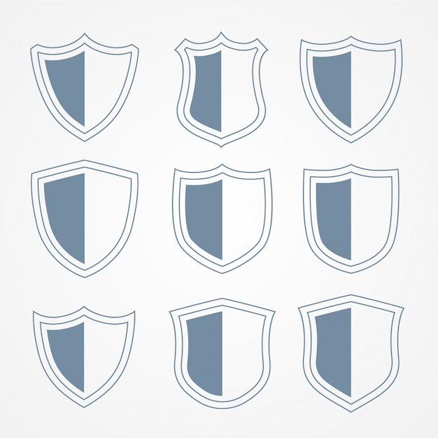 Security protection shield icons set Free Vector
