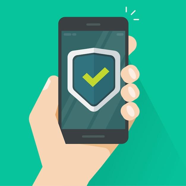 Щит защиты безопасности на мобильном телефоне онлайн в руке Premium векторы