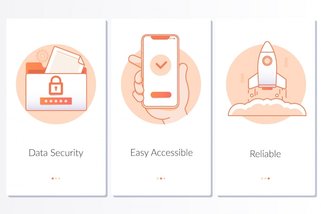 Security, quick and easy launch, reliable service steps graphic instruction Premium Vector