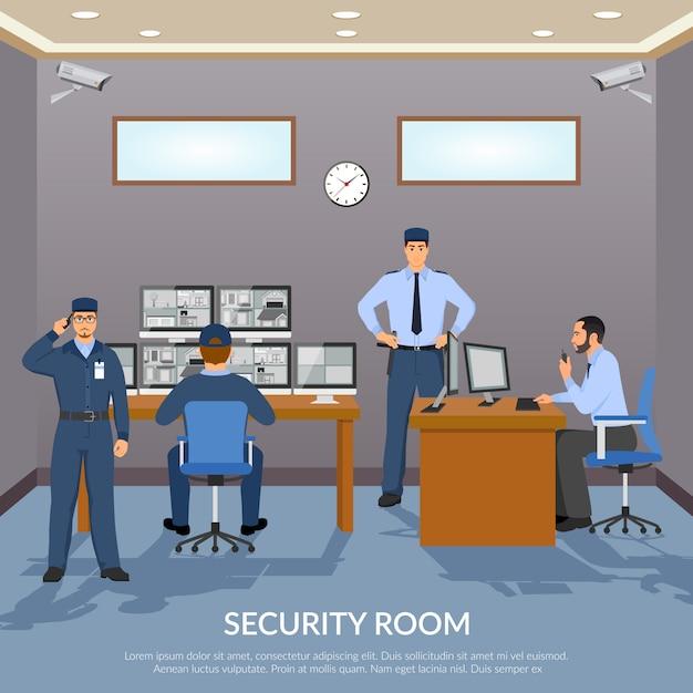 Illustrazione della stanza di sicurezza Vettore gratuito