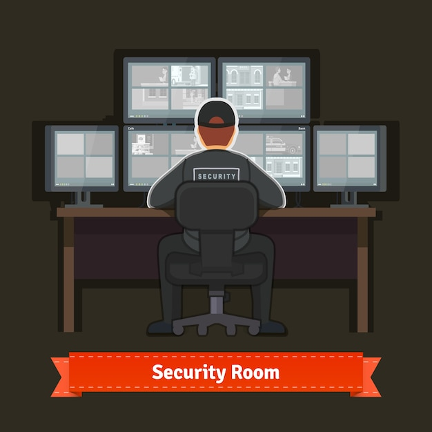 Security room with working professional Free Vector