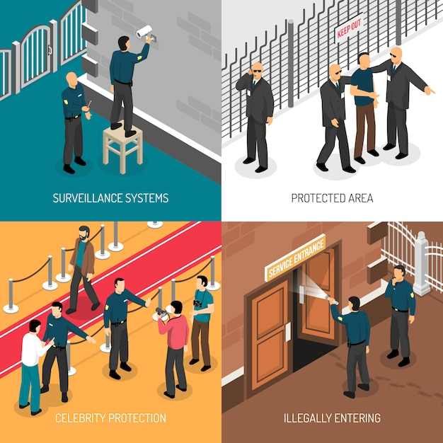 Security service 4 isometric icons square Free Vector