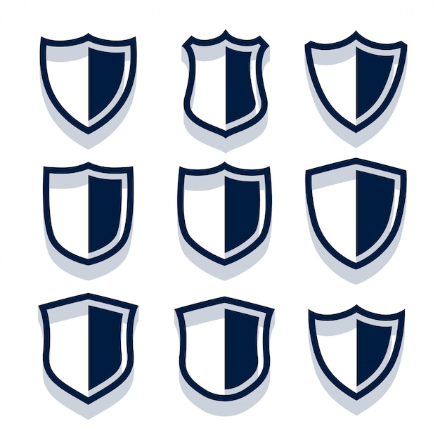 Security shield and badges set Free Vector
